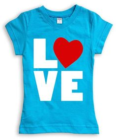 Turquoise 'L O V E' Fitted Tee - Toddler & Girls