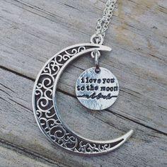 I love you to the moon and back necklace www.LunaSavita.com #moon #moonnecklace #iloveyou #love #loveyoutothemoon #etsy #etsyseller #etsyshop #etsyfinds #etsyfeature #picoftheday #photooftheday #productshot #moonlight