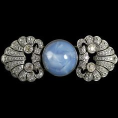 Art Deco Star Sapphire and Diamond Pin