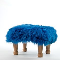 Angharad in Cornflower Blue Sheepskin Footstool