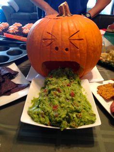 puking pumpkin appetizer anyone?  hilarious.  the guacamole makes an especially grotesque looking dip here.