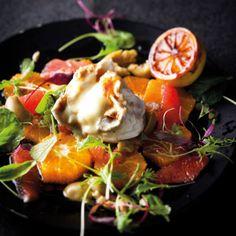 Taste Mag | Warm goat's cheese and citrus salad with caramelised lemon dressing @ http://taste.co.za/recipes/warm-goats-cheese-and-citrus-salad-with-caramelised-lemon-dressing/