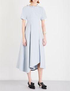YULIA KONDRANINA Ball-detail cotton-poplin midi dress Strong Shoulders, Poplin Dress, Fitted Bodice, Fabric Design, Duster Coat, Short Sleeve Dresses, Detail, Cotton, Fashion Design