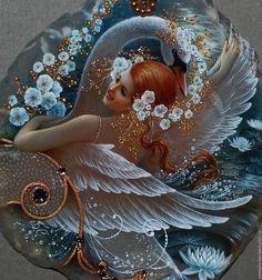 Купить Танец с Лебедем - разноцветный, лаковая миниатюра, живопись маслом, живопись на камне, единственный экземпляр