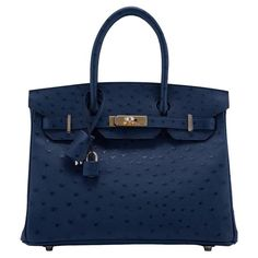 Hermes Handbag Birkin 30 Ostrich Leather 7C Blue Cobalt Color Gold Hardware 2016 | From a collection of rare vintage top handle bags at https://www.1stdibs.com/fashion/handbags-purses-bags/top-handle-bags/