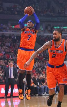 Carmelo Anthony 2013-2014 New York Knicks Orange Adidas Uniform