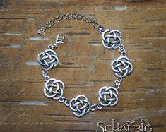 Bracelet with Celtic knots Willow Tree Tattoos, Celtic Tree, Celtic Knots, Art Prints, Bracelets, Silver, Jewelry, Postcards, Wristlets