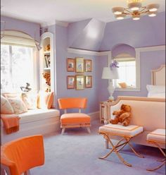 creamsicle and lavender girls bedroom! Shelby would love purple Orange and grey