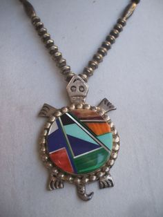 Turquoise Soul . . . Signed Navajo Alvin YELLOWHORSE Channel Inlay & Sterling Silver TURTLE PENDANT Necklace