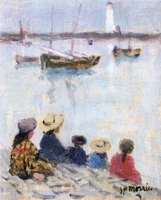 At the Water's Edge -   James Wilson Morrice c.1900-02    Canadian 1865-1924 Oil on canvas, 15.2 cm (5.98 in.), 12.7 cm (5 in.)