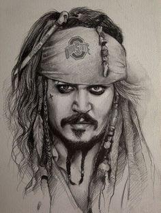 Holiud aktr Amazing Drawings, Cool Drawings, Realistic Pencil Drawings, Beautiful Drawings, Realistic Sketch, Jack Sparrow Dibujo, Jack Sparrow Drawing, Caribbean Art, Pirates Of The Caribbean