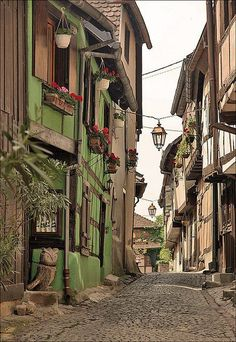 """Medieval Street, Alsace, France. Please note that most photos on this board are taken from """"Trust me I'm a Traveller""""."""
