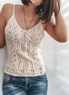 Le patron si possible Crochet Tank Tops, Crochet Blouse, Knitted Tank Top, Crochet Top, Summer Knitting, Lace Knitting, Knitting Needles, Form Crochet, Knit Fashion