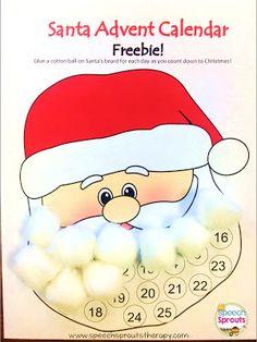 Santa Advent Calendar and Craft Freebie from Speech Sprouts - Classroom Freebies Preschool Christmas, Christmas Activities, Holiday Fun, Christmas Holidays, Christmas Crafts, Xmas, Christmas Ideas, Happy Holidays, Holiday Ideas