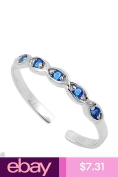 Tiny Star Toe Ring Sterling Silver Rhodium Plated Jewelry Blue Sapphire CZ
