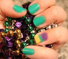 DIY Mardi Gras Nails DIY Nails Art check out www.MyNailPolishObsession.com for more nail art ideas.