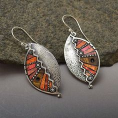 Sterling silver dangle abstract red leaf earrings with inlaid beads iridescent orange pink reds with zigzags