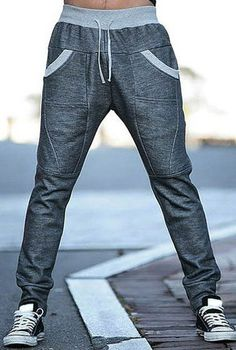 Color Block Splicing Beam Feet Slimming Fashion Lace-Up Polyester Sweatpants For Men