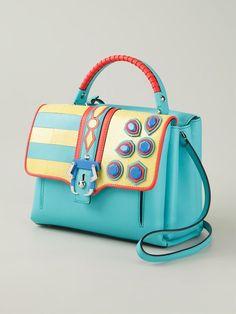 Paula Cademartori 'fay' Handbag - Fiacchini - Gorgeous Retro Blue Embellished Bag #retro #bags #handbags