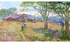 architectural hand rendering, illustration, visualization for fundraising in watercolor tecnique, Audubon Society, Visitor Center and historic park