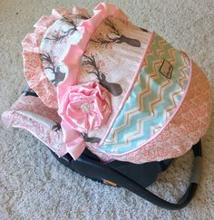 Custom Infant Car Seat Cover - Fancy Stag, Coral, Pink, and Mint