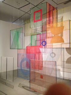 Billedresultat for Elsi Giauque, Spatial Element, Vitrine Design, Instalation Art, Exhibition Display, Thread Art, Paris Ville, Display Design, Stage Design, Museum Of Modern Art, Public Art