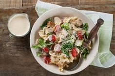 It's picnic season, and what better meal to pack in your lunch pox than a pasta salad? Our Chicken Caesar Pasta Salad is a picnic must-have! Chicken Caesar Pasta Salad, Pasta Salad Recipes, Healthy Salad Recipes, Lunch Recipes, Cooking Recipes, Caesar Salad, Mediterranean Pasta Salads, Loaded Baked Potatoes, Fusilli