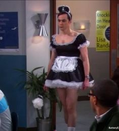 sheldon cooper in a maids dress. hahahahahahahaha love Sheldon