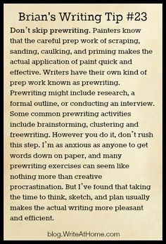 ..Brian's writing tips