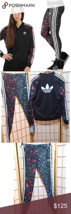 b53ac3e8d37 Rare❤Adidas Floral Track Jacket Leggings Set Rare tracksuit set especially  in this size Jacket