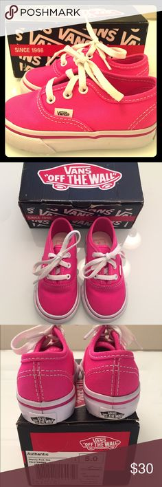 Toddler Girls Vans Size 5 Adorable hot pink Vans! Toddler girls size 5. GUC! There is a few very light scuff marks but they don't even show up in the pictures. Worn 3 times! No trades! Bundle to save! PRICE IS FIRM unless bundled! Thanks!  Vans Shoes Sneakers