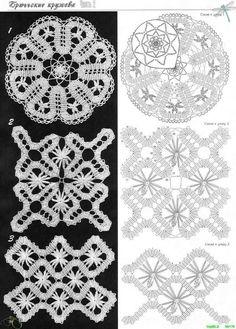 Яндекс.Фотки Crochet Stitches Chart, Crochet Diagram, Freeform Crochet, Tunisian Crochet, Irish Crochet, Crochet Motif, Crochet Designs, Crochet Doilies, Crochet Lace