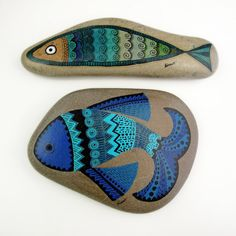 blue fish / handpainted stone paperweight by zeustones on Etsy