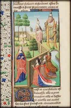 Worshiping the goddess of happiness; Fortuna in the background with her wheel, from Augustine, La Cité de Dieu, Book IX, illustrated by Maitre Francois, c. 1475-1480 -- I like the red sash that the woman in purple in the middle in the foreground is wearing.