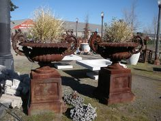 Giant Cast Iron Urns on Pedestals