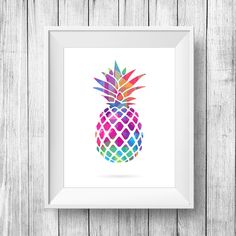 Colorful Pineapple print Colorful Pineapple por SetiPosters en Etsy