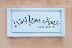 Mom's Rule Wash Your Hands-removable bathroom decor wall words removable wall sticker decal vinyl
