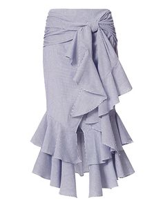 Exclusive for Intermix Erik Poplin Stripe Skirt: Ruffles give this menswear-inspired pinstripe shirting skirt its feminine flair. Off center knot tie. Frilly Skirt, Ruffle Skirt, Tie Dye Skirt, Summer Skirts, Mini Skirts, Culottes, Asymmetrical Skirt, Layered Skirt, Sexy Skirt