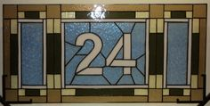 Custom Made Stained Glass Transom - Mission Style