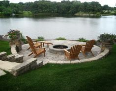 lakefront firepit built in deck - Google Search