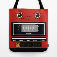 recorder Tote Bag geek vintage , retro tape recorder