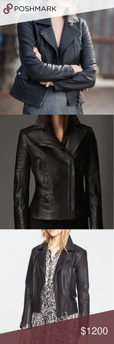 Burberry Leather Moto Jacket Leather Moto jacket by Burberry in a dark, dark, dark Navy blue. The girl I bought it from thought it was black. If not in direct sunlight, it appears to be black so it's very dark. Gorgeous piece, only worn twice by one person (myself). 100% authentic & real leather. Perfect for fall. Black hardware. Pairs nicely with the Navy Burberry cashmere scarf in my closet. 😉 Size 4 fits like a 2, know your Burberry  size. Will trade for a Burberry trench in black. Any…