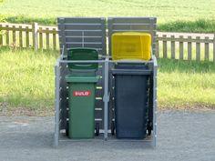 2er Mülltonnenbox Holz für 120 L + 240 L Tonnen - Transparent Geölt Weiß