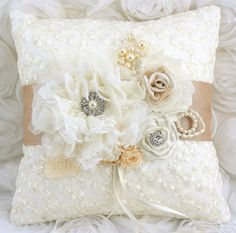 Ring Bearer Pillow Bridal Pillow in Ivory and Champagne with Lace, Handmade Flowers and Jewels Vintage Inspired via Etsy