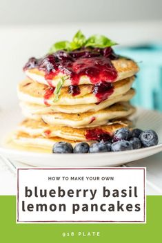 Five Approaches To Economize Transforming Your Kitchen Area Blueberry Basil Lemon Pancakes 918 Plate Lemon Pancakes, Pancakes Easy, Blueberry Pancakes, Waffle Recipes, Brunch Recipes, Breakfast Recipes, Sweets Recipes, Breakfast Ideas, Blueberry Compote