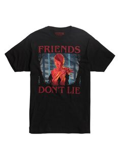 """Black T-shirt from Netflix's hit sci-fi series, Stranger Things , featuring a large Eleven themed illustration design on front that reads """"Friends Don't Lie. dry low Imported Listed in men's sizes Stranger Things Gifts, Stranger Things Merchandise, Eleven Stranger Things, Stranger Things Netflix, Illustration Simple, Pretty Little Liars, T Shirt, Mens Tops, Friends"""