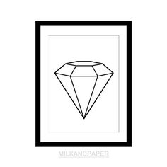 Diamond print 8x10 inches , black and white minimalist graphic print , wall art