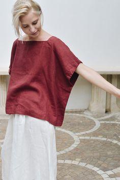 Linen Blouse, Linen Tunic, Blusas Oversized, Quoi Porter, Linen Dresses, Minimal Fashion, Ideias Fashion, Kimono, Normcore
