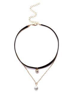 Black Rhinestone And Faux Pearl Pendant Layered Choker -SheIn(Sheinside)