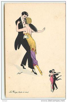 """""""Le Tango (toute à vous)"""" ~ Vintage French dance postcard by Xavier Sager"""